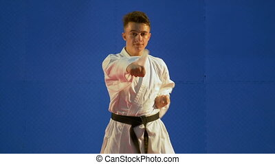 Karate kid fighter exercising punching and kicking...