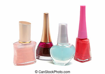 Lak - bottles with red nail polish isolated on white...