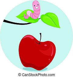 Preposition Apple Worm Above - Illustration Featuring an...