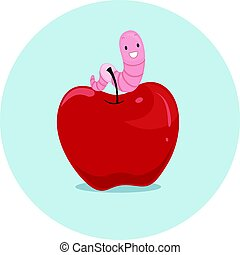 Preposition Apple Worm On - Illustration Featuring an...