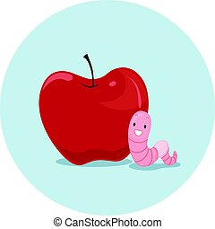 Preposition Apple Worm Near - Illustration Featuring an...