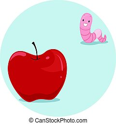 Preposition Apple Worm Far - Illustration Featuring an...
