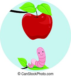 Preposition Apple Worm Below - Illustration Featuring an...