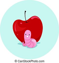 Preposition Apple Worm In Front Of - Illustration Featuring...