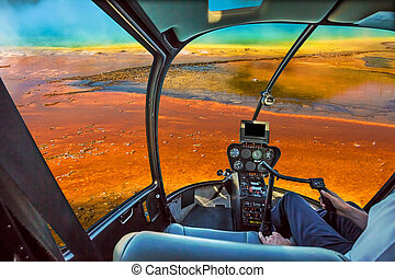Helicopter Grand Prismatic Spring - Helicopter cockpit with...