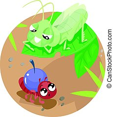 Fable The Ant And The Grasshopper - Storybook Illustration...