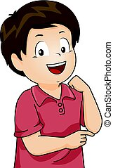 Kid Boy Body Parts Elbow - Illustration Featuring a Little...