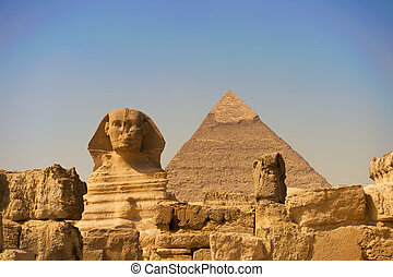 The Sphinx of Giza - The Sphinx and Pyramid at Giza in Cairo