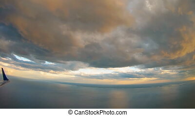 Clouds Ocean view from airplane sky clouds airplane flight...