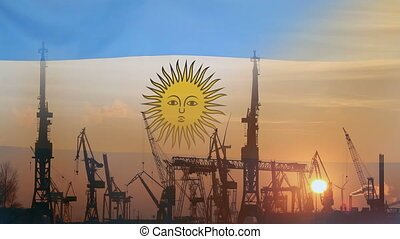 Industrial concept with Argentina flag at sunset, silhouette...
