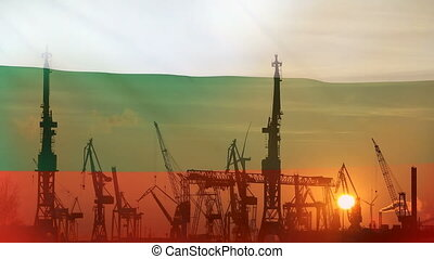 Industrial concept with Bulgaria flag at sunset, silhouette...