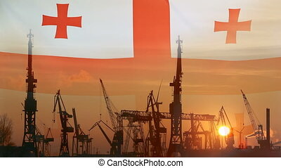 Industrial concept with Georgia flag at sunset, silhouette...
