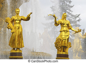 Soviet fountain of friendship of people. Statues of Russian...