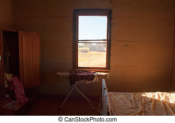 Abandoned bedroom interior vintage pioneer farm - Old grunge...
