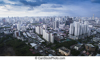 BANGKOK THAILAND - JUNE 7,2017 : aerial view of high and...