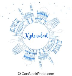 Outline Hyderabad Skyline with Blue Landmarks and Copy...