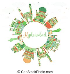 Abstract Hyderabad Skyline with Color Landmarks and Copy...