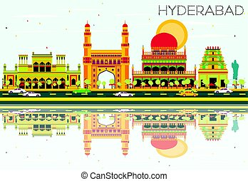 Abstract Hyderabad Skyline with Color Landmarks and...