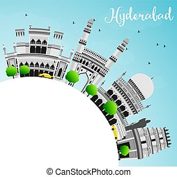 Hyderabad Skyline with Gray Landmarks, Blue Sky and Copy...