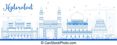 Outline Hyderabad Skyline with Blue Landmarks. Vector...