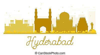 Hyderabad City skyline golden silhouette. Vector...