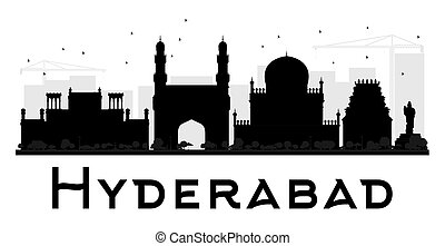 Hyderabad City skyline black and white silhouette. Vector...