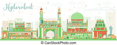 Abstract Hyderabad Skyline with Color Landmarks. Vector...