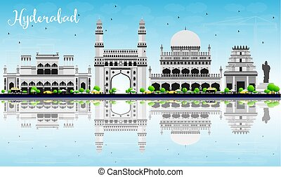 Hyderabad Skyline with Gray Landmarks, Blue Sky and...