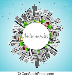 Indianapolis Skyline with Gray Buildings, Blue Sky and Copy Space.