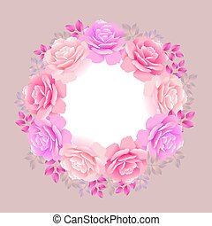 rose wreath on beige  background vector illustration