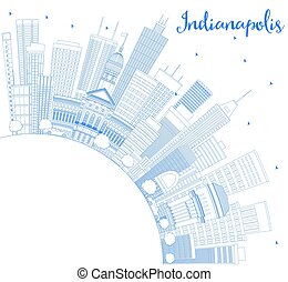 Outline Indianapolis Skyline with Blue Buildings and Copy Space.