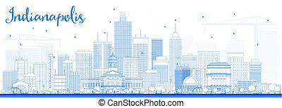 Outline Indianapolis Skyline with Blue Buildings.