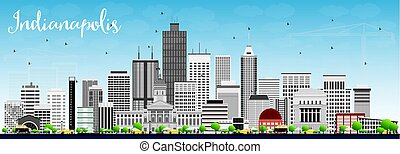 Indianapolis Skyline with Gray Buildings and Blue Sky.