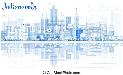 Outline Indianapolis Skyline with Blue Buildings and Reflections.