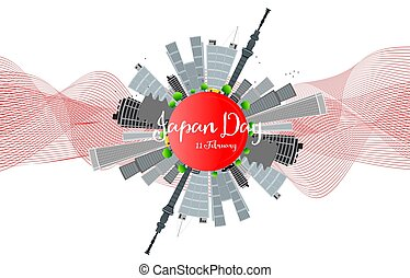National Day of Japan 11 february. Vector illustration with...