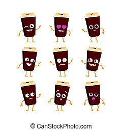 Coffee - vector set of mascot illustrations.