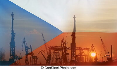Industrial concept with Czech Republic flag at sunset
