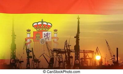 Industrial concept with Spain flag at sunset, silhouette of...