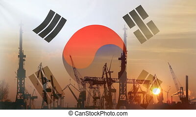 Industrial concept with South Korea flag at sunset,...