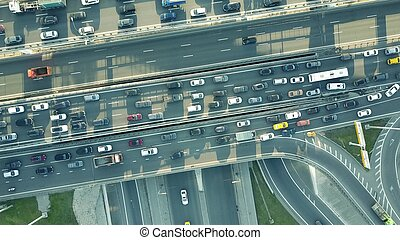 Aerial top down shot of a traffic jam on a car road...