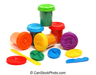 colors plasticine - much colors plasticine isolated on white...