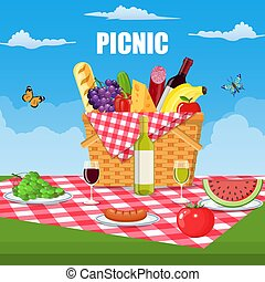 Summer picnic concept with basket,
