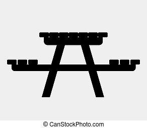 Camping table icon - Camping picnic table. Single flat icon...