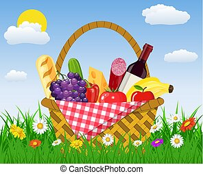 WIcker picnic basket full of products.