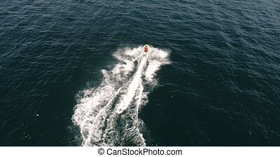Speed boat on the sea - Beautiful aerial top view of speed...