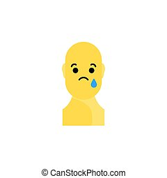 Sad yellow smiley. Like social icon. Button for expressing...
