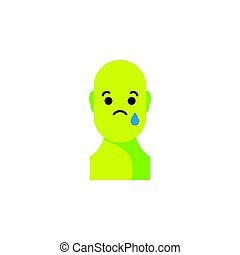 Sad green smiley. Like social icon. Button for expressing...