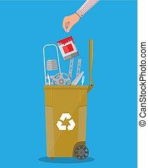 Trash recycle bin for garbage full of metal things - Trash...