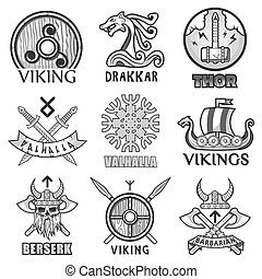 Viking scandinavian ancient warriors ship, arms shields and...