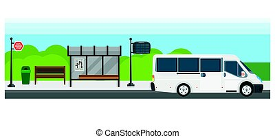 Passenger public bus stop transport vector flat design